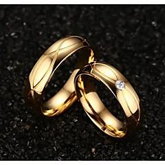 お買い得  指輪-女性用 チタン鋼 / ゴールドメッキ ステートメントリング - ファッション ゴールデン リング 用途 結婚式 / パーティー / 日常