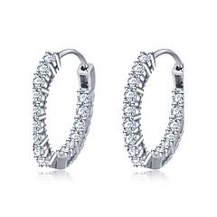 Damskie Kolczyki koła biżuteria kostiumowa Srebro standardowe Cyrkon Circle Shape Round Shape Geometric Shape Biżuteria Na Ślub Impreza