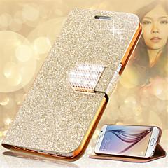 billige Galaxy Note 3 Etuier-Etui Til Samsung Galaxy Kortholder Rhinsten Med stativ Flip Fuldt etui Glitterskin Hårdt PU Læder for Note 5 Note 4 Note 3