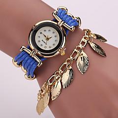 Damskie Modny Zegarek na bransoletce Kwarcowy sztuczna Diament PU Pasmo Postarzane Błyszczące Liście KwiatCzarny Biały Niebieski Czerwony