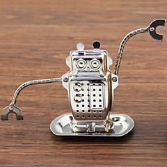 abordables Accesorios para té-Robot para colgar infusor de té de acero inoxidable con bandeja de goteo.