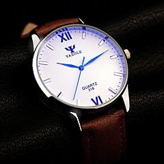 お買い得  大特価腕時計-男性用 クォーツ リストウォッチ カジュアルウォッチ レザー バンド チャーム ブラック ブラウン