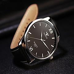 お買い得  メンズ腕時計-男性用 リストウォッチ ブラック / ブラウン カジュアルウォッチ ハンズ レディース チャーム - ブラック / ホワイト ブラック ブラウン / ホワイト 1年間 電池寿命 / ステンレス