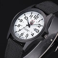 お買い得  メンズ腕時計-男性用 クォーツ リストウォッチ / 軍用腕時計 生地 バンド ブラック / 白 / ブラウン / グリーン