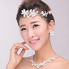 perlas de cristal de joyería de pelo de la venda de plata la frente de la mujer para la fiesta de la boda