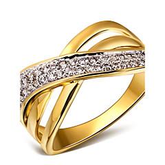Χαμηλού Κόστους -Γυναικεία Εντυπωσιακά Δαχτυλίδια κοστούμι κοστουμιών Cubic Zirconia Χαλκός Επιμεταλλωμένο με Πλατίνα Επιχρυσωμένο 18K χρυσό Κοσμήματα Για