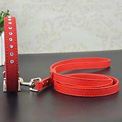 お買い得  犬用首輪/リード/ハーネス-ネコ 犬 カラー ラインストーン PUレザー ブラック レッド ブルー ピンク