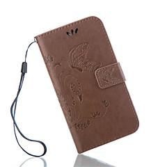 voordelige Galaxy S4 Mini Hoesjes / covers-hoesje Voor Samsung Galaxy Samsung Galaxy hoesje Kaarthouder Portemonnee met standaard Flip Reliëfopdruk Volledig hoesje Vlinder PU-nahka