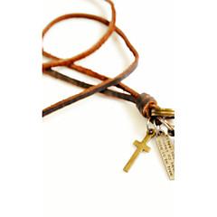 Недорогие Ожерелья-Муж. Ожерелья с подвесками - Кожа Крест, Цилиндрическая Винтаж Золотой Ожерелье Бижутерия Назначение Повседневные, Спорт