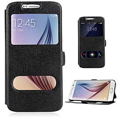 halpa Galaxy S6 kotelot / kuoret-Etui Käyttötarkoitus Samsung Galaxy Samsung Galaxy S7 Edge Korttikotelo Tuella Ikkunalla Flip Suojakuori Yhtenäinen väri PU-nahka varten