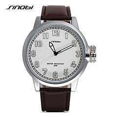 お買い得  大特価腕時計-SINOBI 男性用 リストウォッチ クォーツ 耐水 レザー バンド ハンズ ぜいたく ブラウン - コーヒー / ステンレス