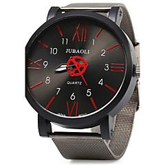 お買い得  大特価腕時計-JUBAOLI 男性用 クォーツ リストウォッチ 大きめ文字盤 ステンレス バンド ヴィンテージ ファッション クール ブラック