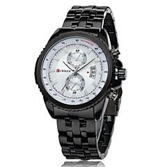 お買い得  メンズ腕時計-CURREN 男性用 クォーツ 日本産クォーツ リストウォッチ カレンダー 耐水 ステンレス バンド チャーム ブラック シルバー