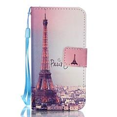 Для Кейс для iPhone 5 Кошелек / Бумажник для карт / со стендом / Флип / С узором Кейс для Чехол Кейс для Эйфелева башня Твердый