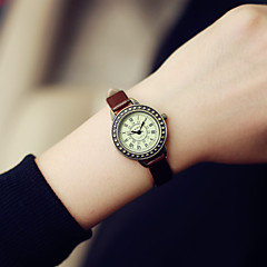 Women's Fashion Watch Quartz Casual Watch Leather Band Vintage Black Brown