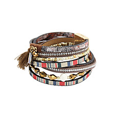 Fashion Trendy 4 Rows Crystal Set/ Multi Beads Bracelet/Fabric Tassel Stripe Pattern Leather Wrap Bracelet