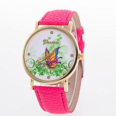 お買い得  レディース腕時計-女性用 リストウォッチ ホット販売 レザー バンド 蝶型 / ファッション ブラック / 白 / ブルー