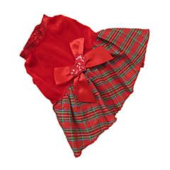 Σκύλος Φορέματα Ρούχα για σκύλους Καρό/Τετραγωνισμένο Κόκκινο Πλέγμα Στολές Για κατοικίδια