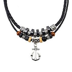 preiswerte Halsketten-Herrn / Damen Achat Geflochten Anhängerketten - Leder, Harz Retro, Modisch Silber Modische Halsketten Für Party, Alltag, Normal