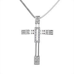 preiswerte Halsketten-Kubikzirkonia Halsketten / Anhängerketten / Anhänger - Sterling Silber, Zirkon, Silber Kreuz Luxus, Modisch Weiß / Weiß Modische Halsketten Schmuck Für Weihnachts Geschenke, Hochzeit, Party