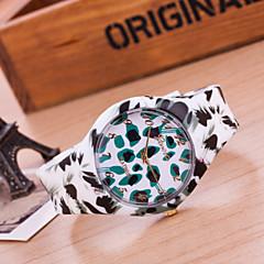 preiswerte Damenuhren-Damen Modeuhr Armbanduhren für den Alltag Quartz Silikon Band Leopard Weiß