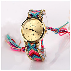 preiswerte Damenuhren-Damen Armbanduhr geflochtenen Seil Stoff Band Böhmische / Modisch Mehrfarbig / Ein Jahr / SODA AG4
