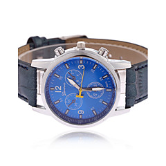Men's Wrist watch Quartz PU Band Black Blue Brown