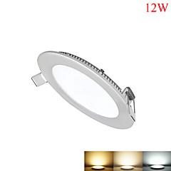 billige Indendørsbelysning-12W Panellamper 60pcs SMD 2835 1050-1100lm lm Varm hvid Kold hvid Naturlig hvid Justérbar lysstyrke Dekorativ Vekselstrøm 85-265 V 1 stk.