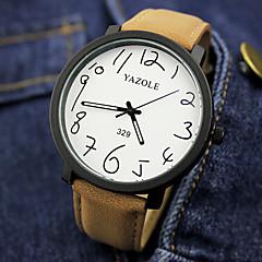 お買い得  大特価腕時計-男性用 リストウォッチ クォーツ ホット販売 レザー バンド ハンズ チャーム ファッション ブラック / ブラウン - ブラック / ホワイト ブラック ブラウン / ホワイト