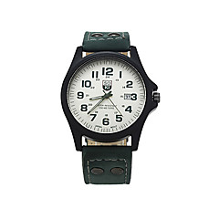 お買い得  大特価腕時計-男性用 リストウォッチ カレンダー レザー バンド チャーム ブラック / ブラウン / グリーン