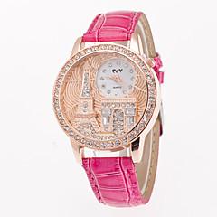 preiswerte Damenuhren-Damen Armbanduhr Imitation Diamant PU Band Eiffelturm / Modisch / Kleideruhr Weiß / Blau / Rot / Ein Jahr / Jinli 377