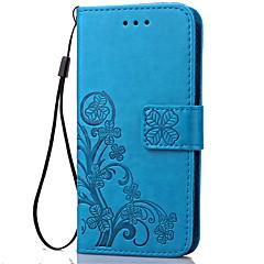 Недорогие Чехлы и кейсы для Galaxy Note 5-Кейс для Назначение SSamsung Galaxy Samsung Galaxy Note Бумажник для карт Кошелек со стендом Флип Рельефный Чехол Цветы Мягкий Кожа PU для