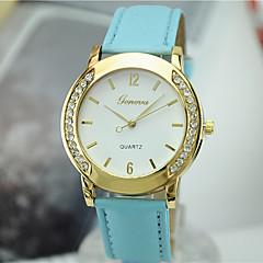 preiswerte Damenuhren-Damen Armbanduhr Imitation Diamant Leder Band Charme / Freizeit / Modisch Schwarz / Weiß / Blau / Ein Jahr / Tianqiu 377