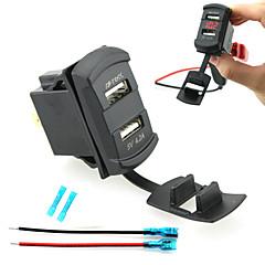 Недорогие Автоэлектроника-iztoss двойной USB автомобильное зарядное устройство цифровой светодиодный дисплей вольтметр с проводами и изоляцией термоусадочной