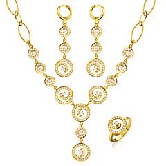 Набор украшений Серьги-кольца Кристалл Мода Круглый Золотой Ожерелья Серьги Кольца Для Свадьба Для вечеринок Повседневные 1 комплект