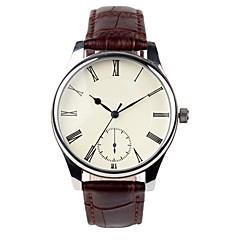 preiswerte Herrenuhren-Herrn Modeuhr Quartz Armbanduhren für den Alltag PU Band Charme Braun