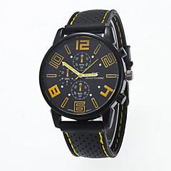 お買い得  メンズ腕時計-男性用 クォーツ リストウォッチ カジュアルウォッチ シリコーン バンド チャーム ファッション ブラック