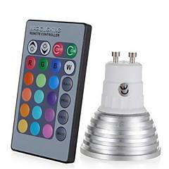 お買い得  LED 電球-1個 3W 250lm E14 GU10 GU5.3 E26 / E27 LEDスポットライト 1 LEDビーズ ハイパワーLED 調光可能 装飾用 リモコン操作 RGB 85-265V