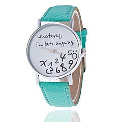 お買い得  レディース腕時計-女性用 リストウォッチ クォーツ カジュアルウォッチ PU バンド ハンズ ファッション ワードダイアル腕時計 ブラック / 白 / レッド - グリーン ライトブルー フクシア