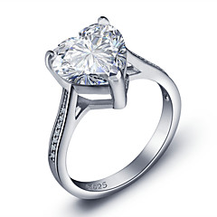 2016 Heart Luxurious Engagement Classic Diamond 925 Sterling Silver Wedding RingsImitation Diamond Birthstone