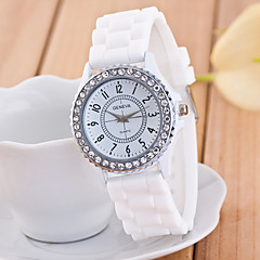 お買い得  レディース腕時計-Geneva 女性用 クォーツ リストウォッチ 模造ダイヤモンド カジュアルウォッチ シリコーン バンド 光沢タイプ ブラック 白 ブルー グリーン ピンク