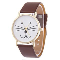 お買い得  大特価腕時計-女性用 ブレスレットウォッチ クォーツ ネコ PU バンド ハンズ カトゥーン ファッション ブラック / 白 / ブルー - レッド ブルー ピンク