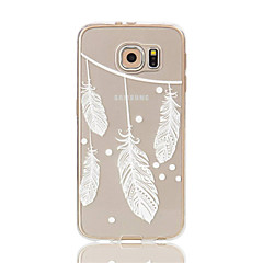 billige Galaxy S6 Etuier-For Samsung Galaxy S7 Edge Transparent Mønster Etui Bagcover Etui Fjer Blødt TPU for S7 edge S7 S6 edge S6