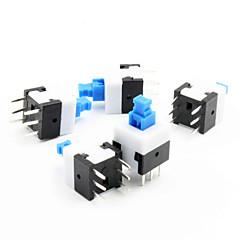 8 x 8 mm-es önzáró kapcsoló - kék + fehér + fekete (5 db csomag)