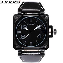 preiswerte Tolle Angebote auf Uhren-SINOBI Herrn Quartz Armbanduhr Militäruhr Sportuhr Wasserdicht Schockresistent Leder Band Luxus Cool Schwarz