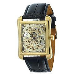 お買い得  メンズ腕時計-WINNER 男性用 リストウォッチ / 機械式時計 透かし加工 PU バンド ぜいたく ブラック / 自動巻き