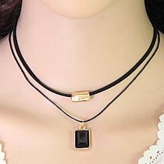 preiswerte Halsketten-Damen Halsketten / Layered Ketten - Harz Retro, Europäisch, Doppelschicht Schwarz Modische Halsketten Schmuck Für Party, Alltag, Normal