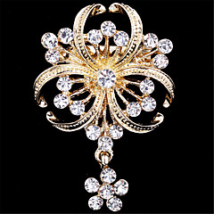 cheap Brooches-Women's Brooches - Imitation Diamond Flower Ladies, Luxury, Fashion Brooch Jewelry Golden For Wedding / Party / Special Occasion / Birthday / Gift / Daily
