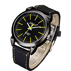 preiswerte Herrenuhren-Herrn Modeuhr Armbanduhren für den Alltag PU Band Streifen Schwarz