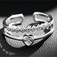 Női Karikagyűrűk Szerelem Szív Nyitva luxus ékszer jelmez ékszerek Divat Állítható Duplarétegű Ezüst Cirkonium Kocka cirkónia Hamis